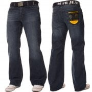 FBM Mens 19 New Designer Bootcut Denim Dark Stonewash Jeans