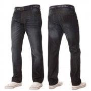 Mens Enzo Apt New Rico Designer Denim Straight Leg Jeans Dark Used Look