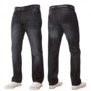 Mens Enzo Apt New Rico Designer Denim Straight Leg Jeans Dark Used Look