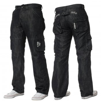 Enzo-Jeans Mens Enzo New CARGO Combat Dark Washed Straight Leg Jeans