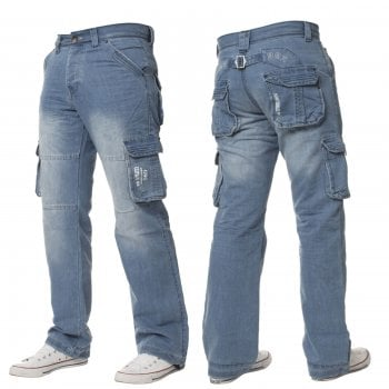 Enzo-Jeans Mens Enzo New CARGO Combat Light Washed Straight Leg Jeans