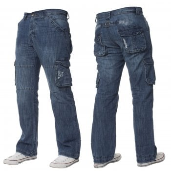 Enzo-Jeans Mens Enzo New CARGO Combat Mid Washed Straight Leg Jeans