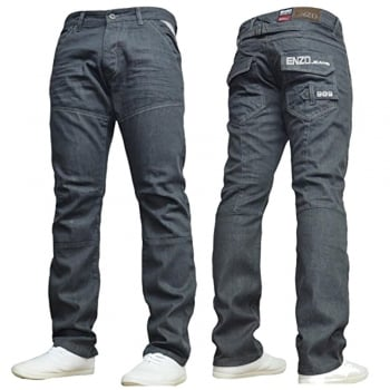 Enzo-Jeans Mens Enzo New EZ313 Regular Fit Straight Leg Jeans Grey Wash Jeans
