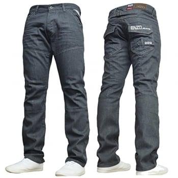 Enzo-Jeans Mens Enzo New EZ313 Regular Fit Straight Leg Jeans Grey Wash Jeans