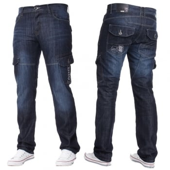 Enzo-Jeans Mens Jeans Enzo New CARGO Combat Dark Washed Straight Leg Jeans