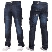 Mens Jeans Enzo New CARGO Combat Dark Washed Straight Leg Jeans