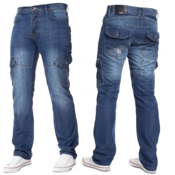 Enzo-Jeans Mens Jeans Enzo New CARGO Combat Mid Washed Straight Leg Jeans