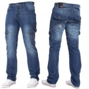 Mens Jeans Enzo New CARGO Combat Mid Washed Straight Leg Jeans