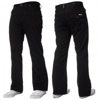 Enzo-Jeans Mens New Enzo A42 Designer Bootcut Flared Denim Black Jeans Prime