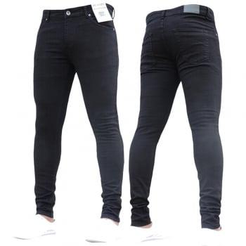 Enzo-Jeans New ENZO Mens Designer Stretch Super Skinny Denim Jeans Black