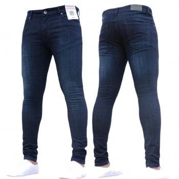 Enzo-Jeans New ENZO Mens Designer Stretch Super Skinny Denim Jeans Dark Stonewash Blue