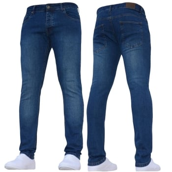 Enzo-Jeans New ENZO Mens Designer Stretch Super Skinny Denim Jeans Mid Stonewash