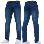 New ENZO Mens Designer Stretch Super Skinny Denim Jeans Mid Stonewash