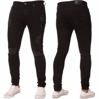 Enzo-Jeans New ENZO Mens Designer Stretch Super Skinny Ripped Denim Jeans Black