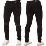 New ENZO Mens Designer Stretch Super Skinny Ripped Denim Jeans Black