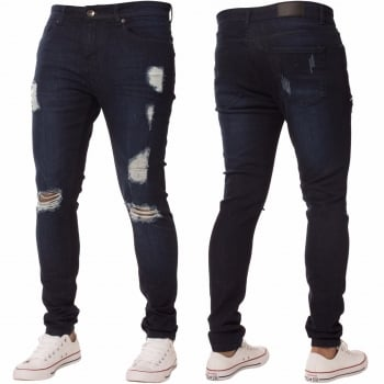Enzo-Jeans New ENZO Mens Designer Stretch Super Skinny Ripped Denim Jeans Dark Stonewash