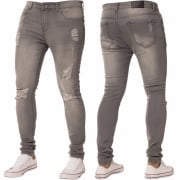 New ENZO Mens Designer Stretch Super Skinny Ripped Denim Jeans Grey