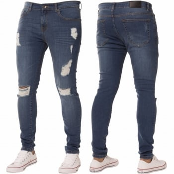 Enzo-Jeans New ENZO Mens Designer Stretch Super Skinny Ripped Denim Jeans Mid Stonewash