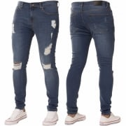 New ENZO Mens Designer Stretch Super Skinny Ripped Denim Jeans Mid Stonewash