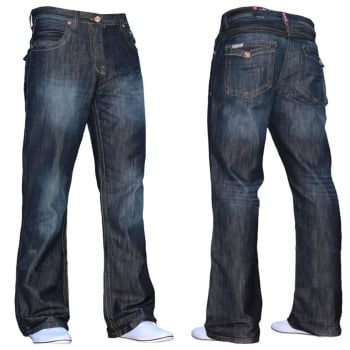 Enzo Mens A31 Designer Bootcut Denim Dark Used Look Jeans