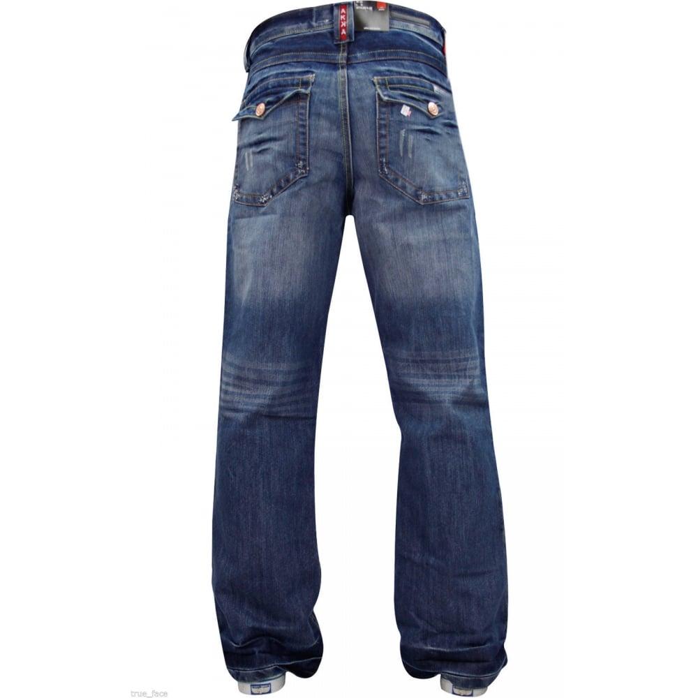 Enzo Mens A42 Designer Bootcut Denim Lightwash Jeans