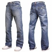 Enzo Mens A42 Designer Bootcut Flared Denim Lightwash Jeans