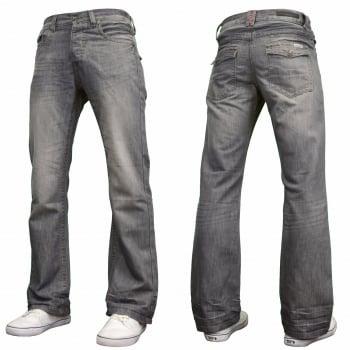 Enzo Mens A42 Designer Flared Bootcut Denim Grey Wash Jeans