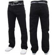 Enzo Mens EZ 324 Designer Denim Jeans Pants Black
