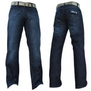 Enzo Mens EZ14 Designer Regular Bootcut Denim Dark Used Look Jeans