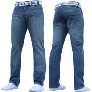 Enzo Mens EZ324 Designer Denim Stonewashed Jeans Pants Mid Stonewash