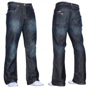 Enzo Mens New A31 Designer Bootcut Denim Dark Used Look Jeans