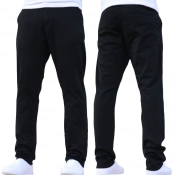 Enzo New Mens EZ348 Slim Fit Stetch Designer Black Jeans Chinos