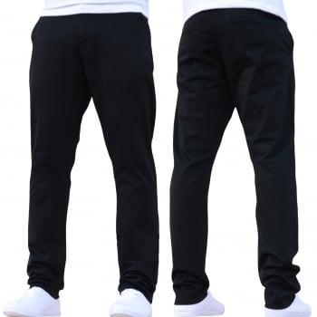 Enzo New Mens EZ348 Slim Fit Stetch Designer Black Jeans Chinos