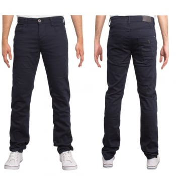 Enzo New Mens Skinny Slim Fit Stetch Designer Navy Jeans Chinos