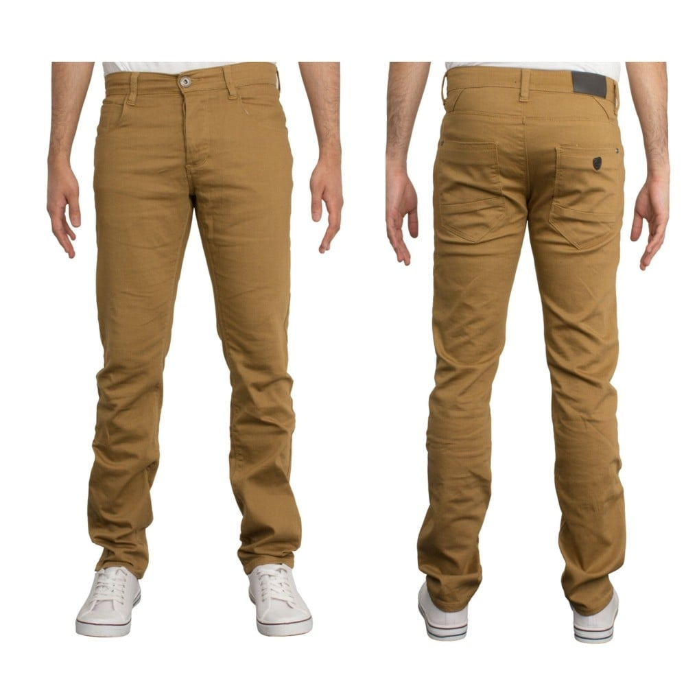 Enzo New Mens Skinny Slim Fit Stetch Designer Tan Jeans Chinos