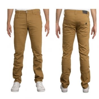 Enzo-Jeans Enzo New Mens Skinny Slim Fit Stetch Designer Tan Jeans Chinos