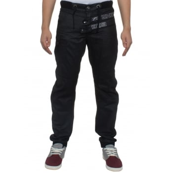 Eto Jeans Enzo Mens New Cuffed Coated Denim Jeans Distressed Black