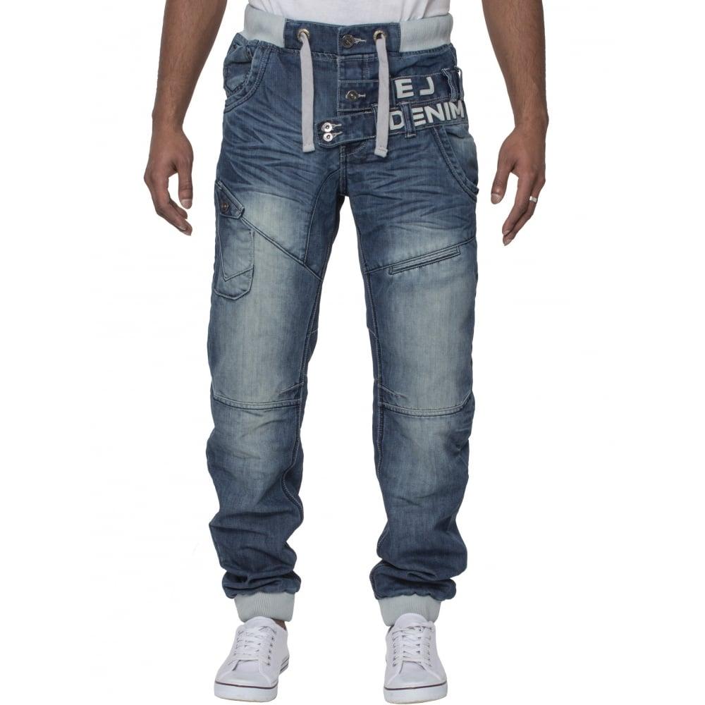 Eto Mens Cuffed Denim Jeans Distressed Blue Denim - photo#43