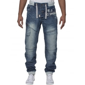 Eto Mens Cuffed Denim Jeans Distressed Blue Denim