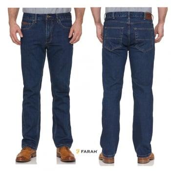 Farah Mens Darwin Rigid Straight Leg Jeans Indigo