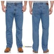 Farah Mens Darwin Rigid Straight Leg Jeans Stonewash Blue