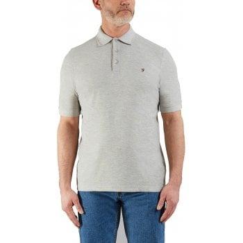 Farah Mens Designer Casual Cove Polo Shirts Grey Melange