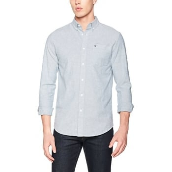 Farah Mens Long Sleeve Casual Fit Oxford Shirt Thompson Regatta Blue