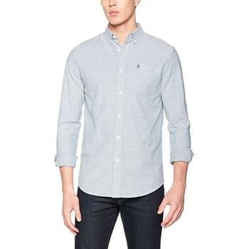 Farah Mens Long Sleeve Casual Fit Oxford Shirt Thompson Regatta Blue
