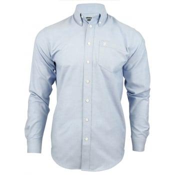 Farah Mens Long Sleeve Regular Fit Oxford Shirt 'The Drayton' Blue