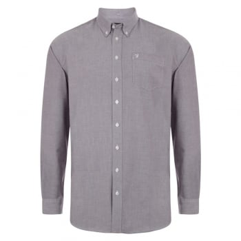 Farah Mens Long Sleeve Regular Fit Oxford Shirt 'The Drayton' Bordeaux