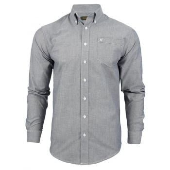Farah Mens Long Sleeve Regular Fit Oxford Shirt 'The Drayton' Navy