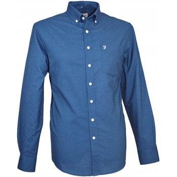 Farah Mens Long Sleeve Regular Fit Oxford Shirt 'The Drayton' Night Sky