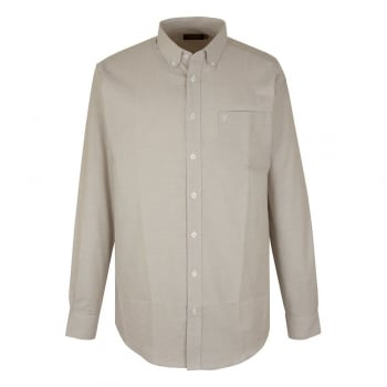 Farah Mens Long Sleeve Regular Fit Oxford Shirt 'The Drayton' Sand