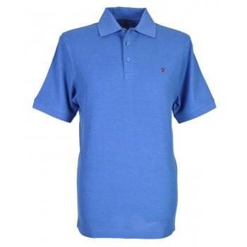 Farah Mens New Casual Cove Plain Polo Shirts Dusky Blue